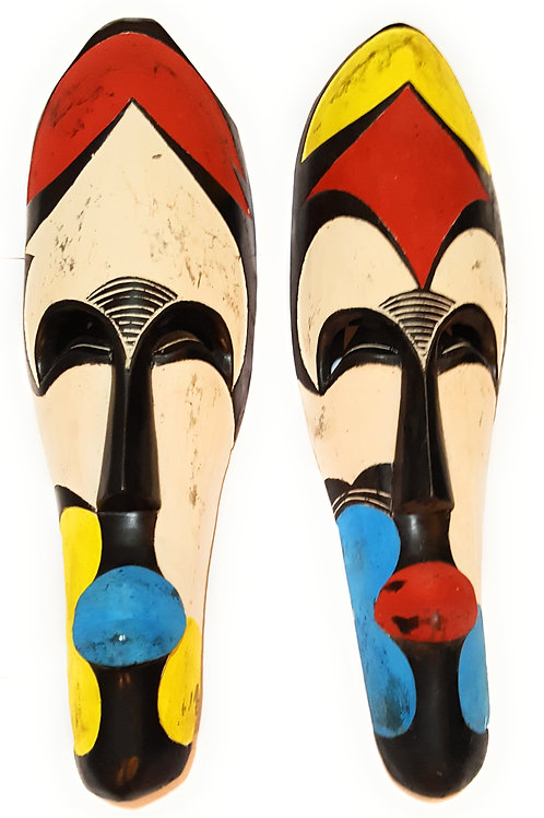 "2 Pieces of 12"" African Cameroon Wood Fang Mask: Multicolored"