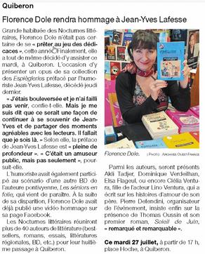 Quiberon. Florence Dole rendra hommage à Jean-Yves Lafesse pendant les Nocturnes littéraires