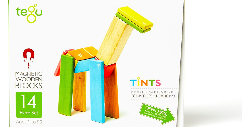 Tegu 14-Piece Wooden Magnetic Block Set in Tints