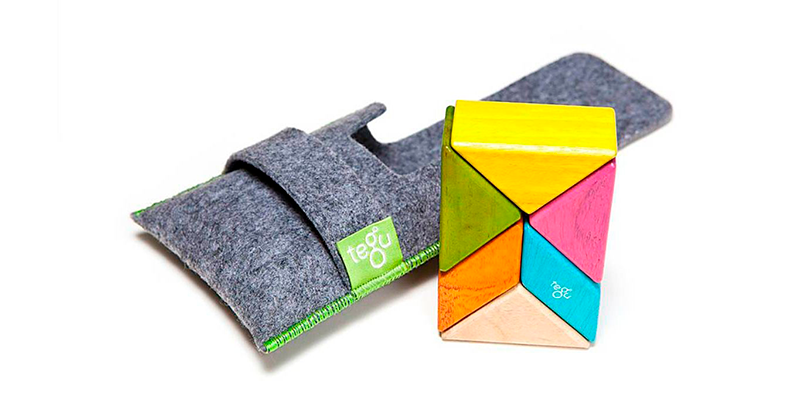 Tegu: Pocket Pouch Prism  Magnetic Wooden Blocks  6 pieces in Tints