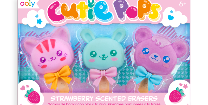 ooly - Cutie Pops Strawberry Scented Erasers (3 Pack)