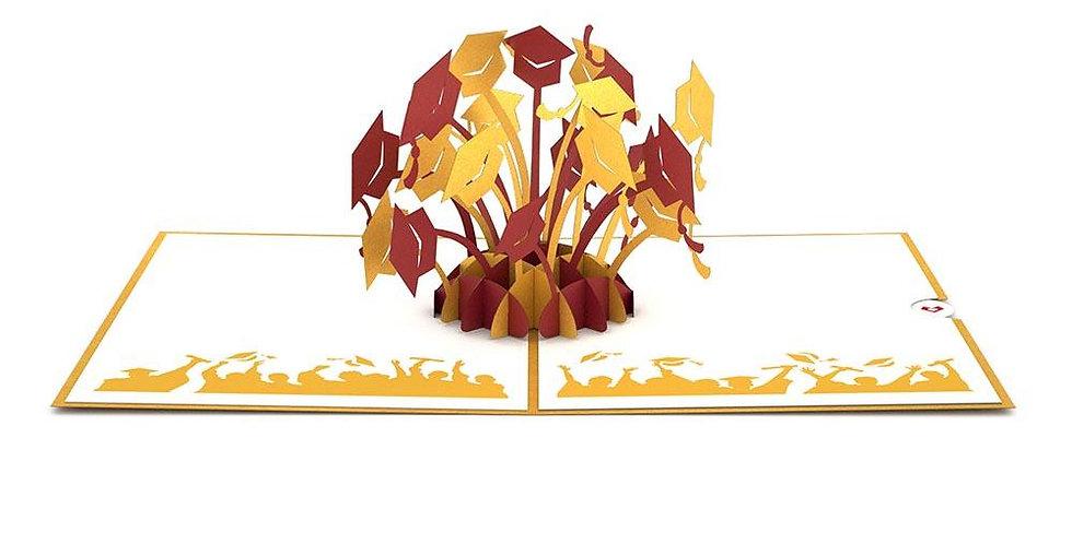 Graduation Hats Gold 3D card