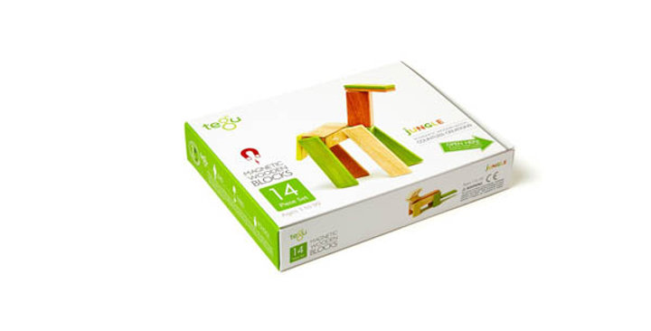 Tegu 14-Piece Wooden Magnetic Block Set in Jungle