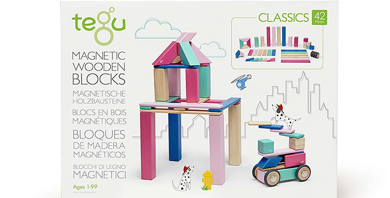 Tegu 42-Piece Wooden Magnetic Block Set in Blossom