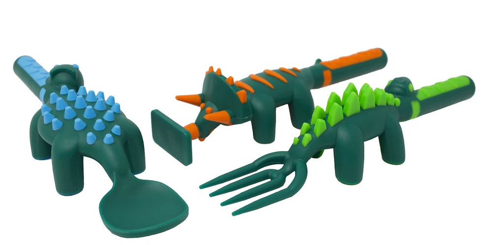 Constructive Eating: Set of 3 Dino Utensils