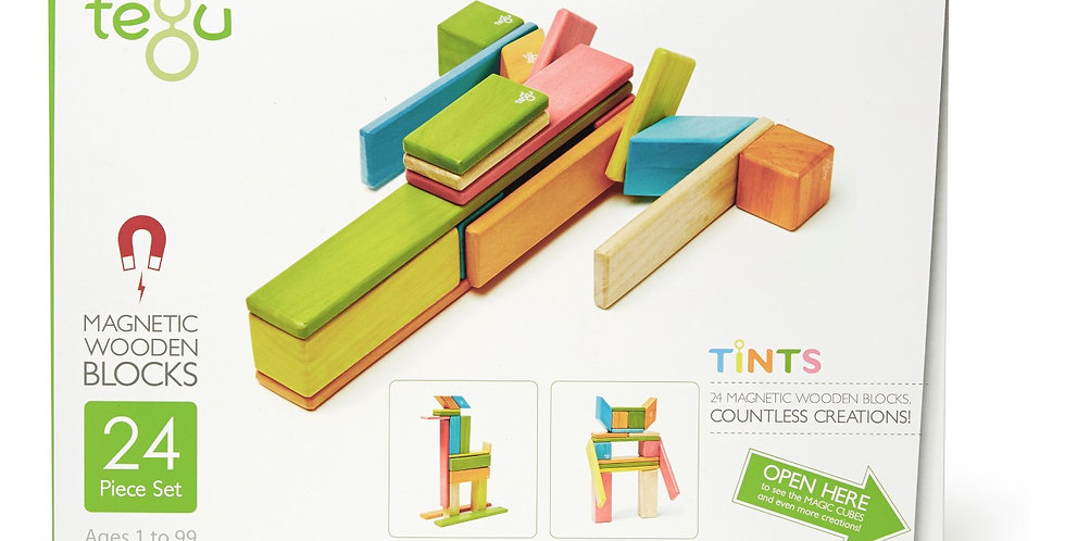 Tegu 24-Piece Wooden Magnetic Block Set in Tints