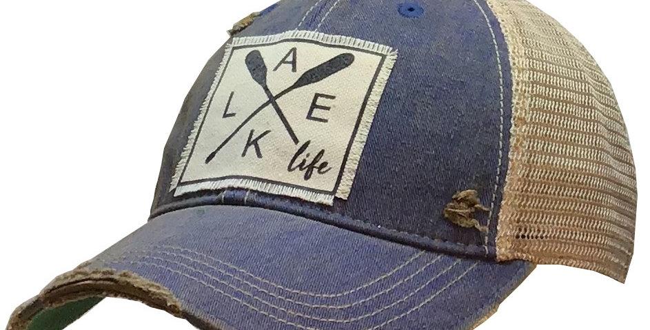 Vintage Life: Lake Life Distressed Trucker Hat Baseball Cap