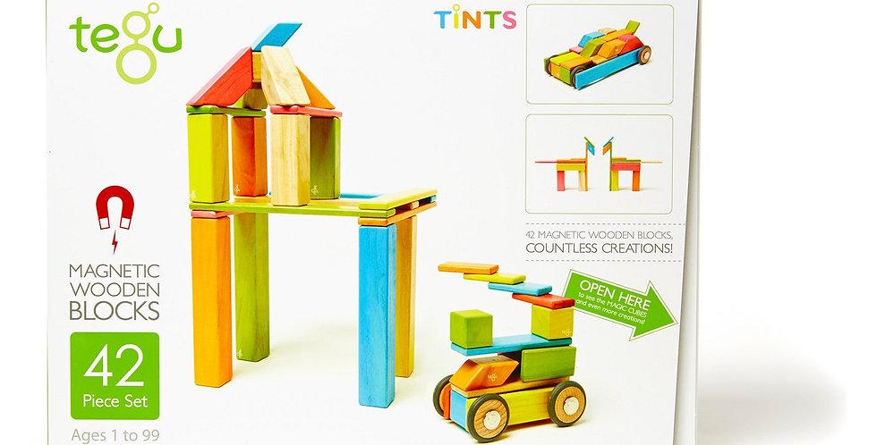 Tegu 42-Piece Wooden Magnetic Block Set in Tints