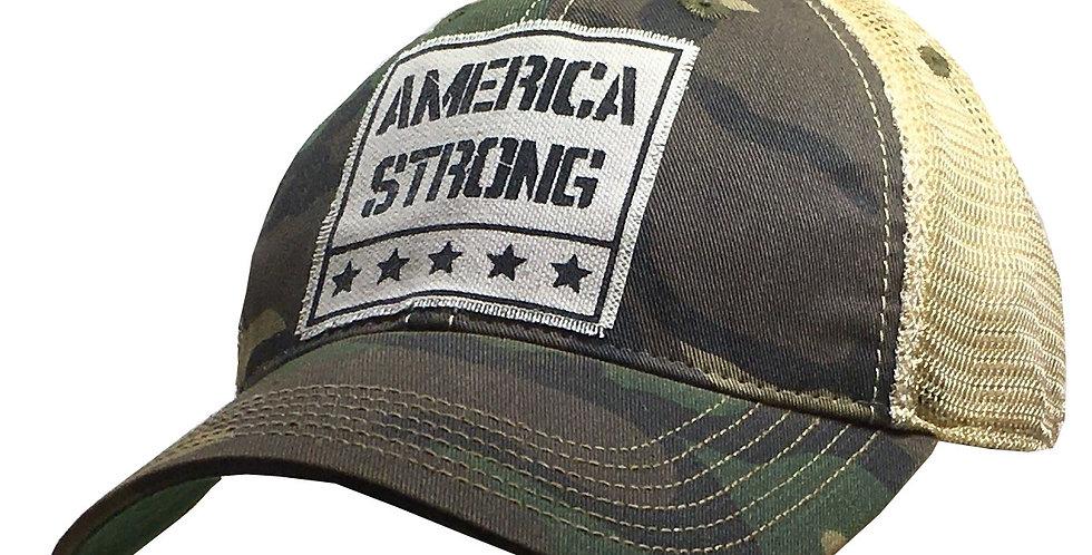 Vintage Life: America Strong Distressed Trucker Hat Baseball Cap