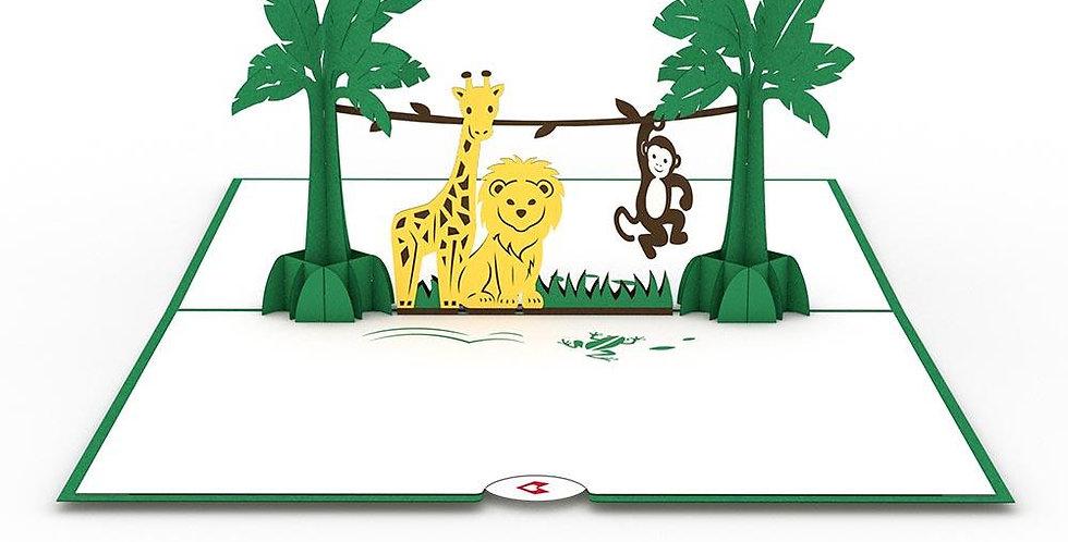 Jungle Animals 3D card