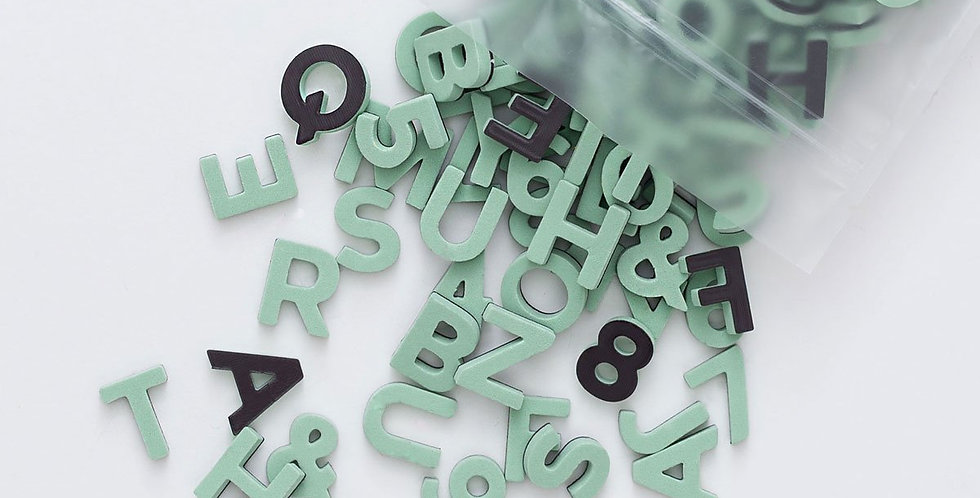 The Type Set CO - Soft Magnetic Letter Set Indy Green Sans Serif