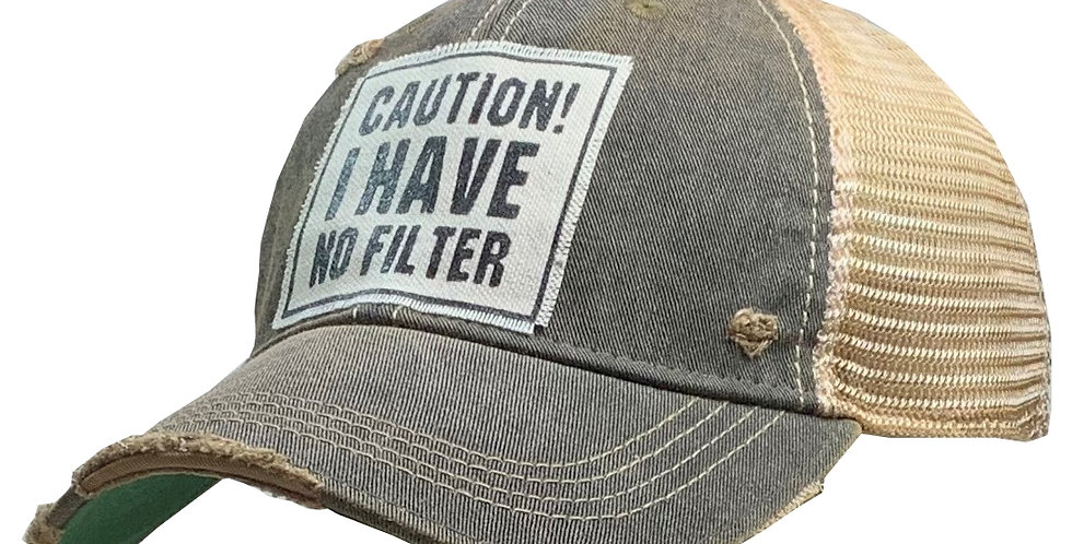 Vintage Life: Caution! I Have No Filter Distressed Trucker Hat Baseball Cap