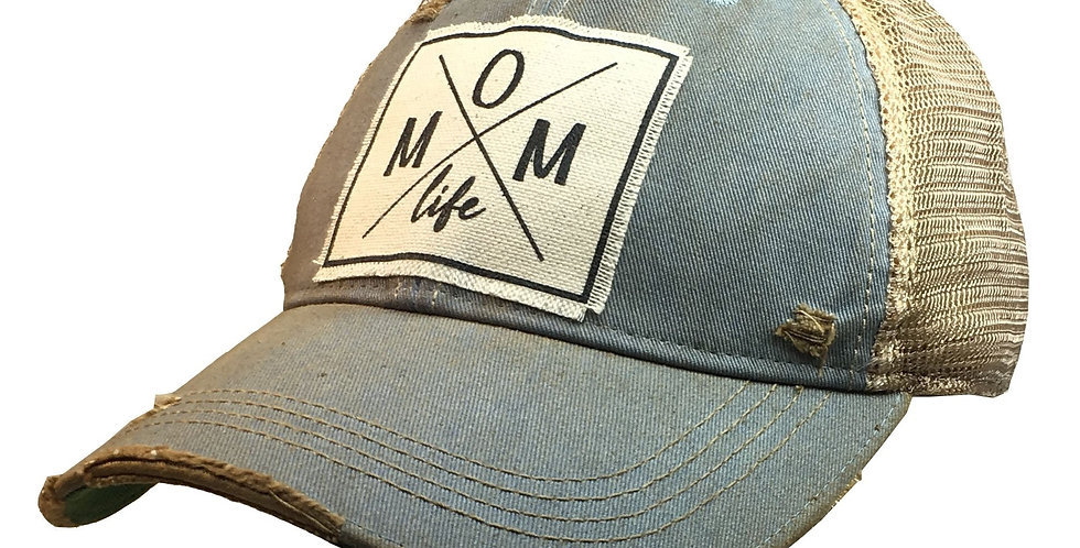 Vintage Life: Mom Life Distressed Trucker Hat Baseball Cap