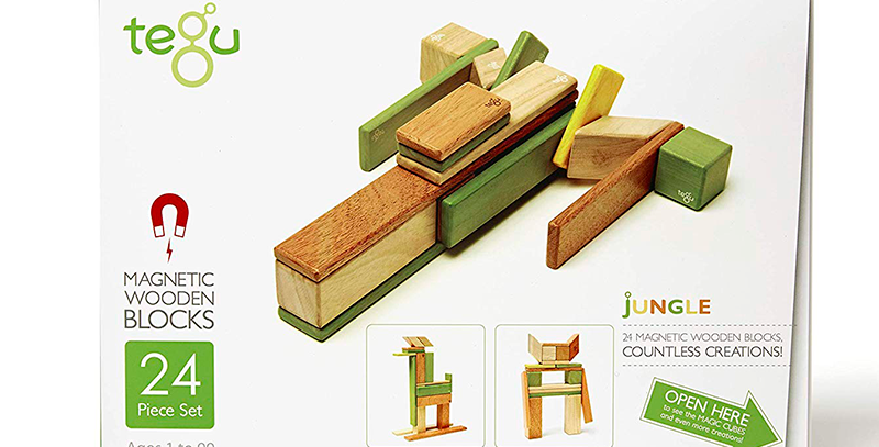 Tegu 24-Piece Wooden Magnetic Block Set in Jungle