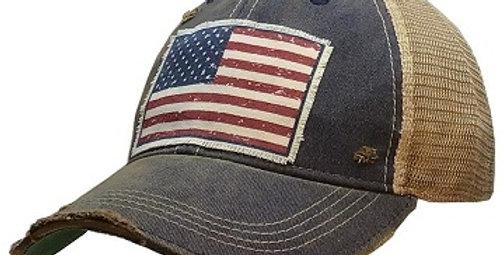 Vintage Life: American Flag USA Distressed Trucker Hat Baseball Cap