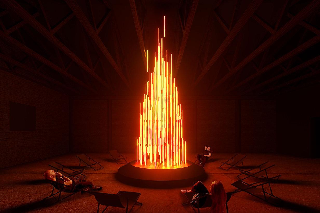 DARK MATTER Ausstellung Berlin - Bonfire Lichtinstallation