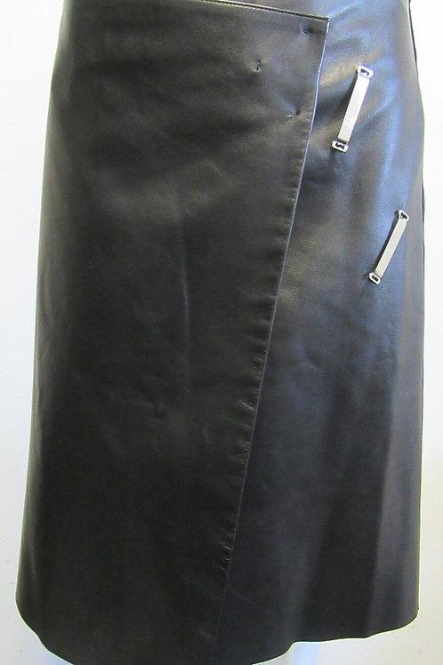 CELINE black leather asymmetrical wrap skirt w/ hook and bar closure SZ Large