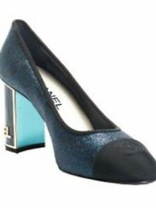 CHANEL $850 Blue Glitter CC Cap-toe Logo Block Heel Pumps Size 42