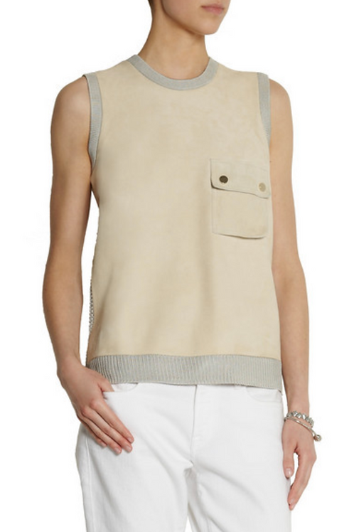 $475 Jason Wu Collection Suede and open-knit top SZ M