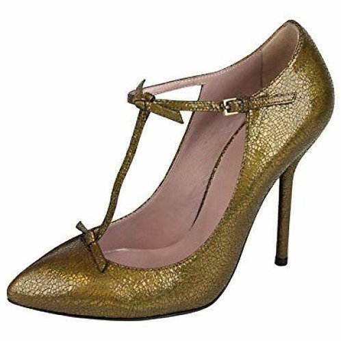 GUCCI Iridescent Bronze Crackled Leather T-Strap Pumps Size 38