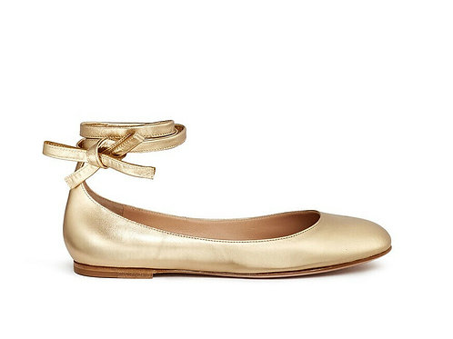 GIANVITO ROSSI $695 Metallic Gold Carla Lace Up Ballet Flats Size 38