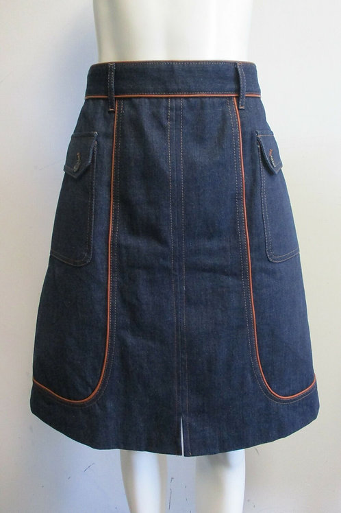 PRADA 100% cotton dark wash blue denim leather piping A-line skirt sz 44/ 8