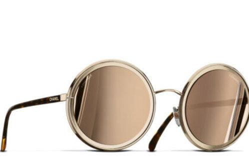 CHANEL ROUND SUNGLASSES Gold frame. 18-karat gold mirror lenses