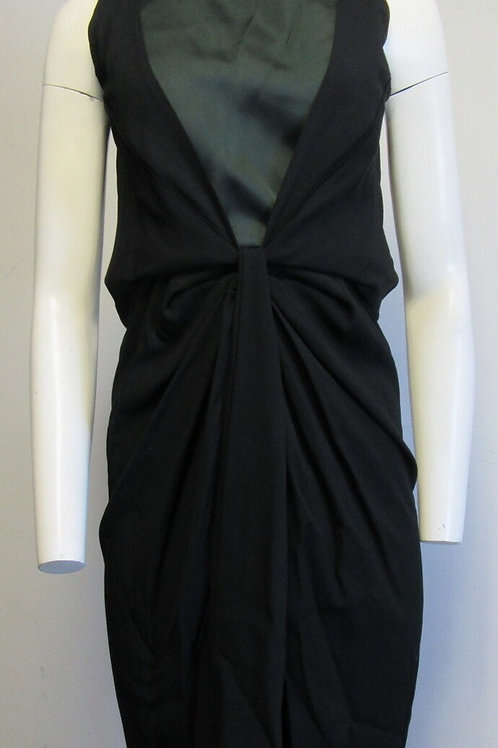 BALENCIAGA green/black draped front dress SZ S
