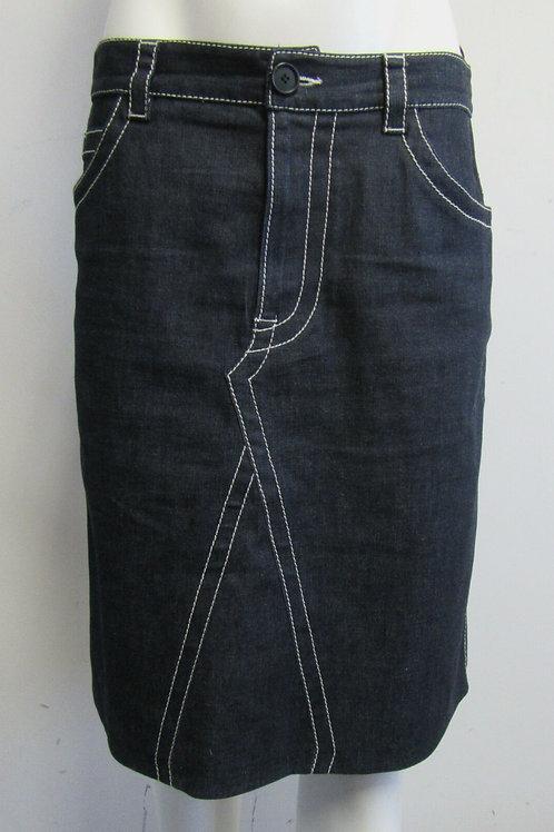 PRADA Dark Denim Skirt with White Top Stitching Size 44