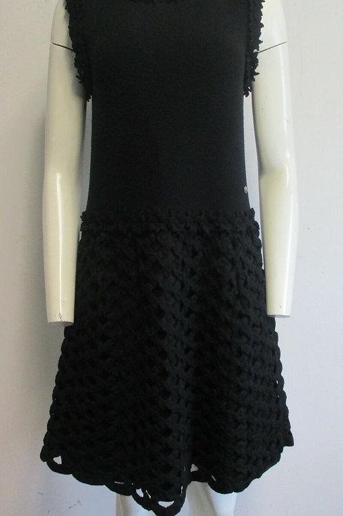 CHANEL black knit floral applique diamond pattern sleeveless dress sz 42