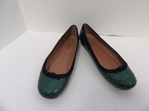 ALAIA IRIDESCENT GREEN REPTILE BALLET FLATS 38