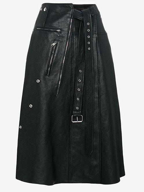 Alexander McQueen Hugh Waisted Leather Wrap Skirt size 4