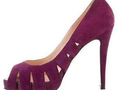 CHRISTIAN LOUBOUTIN Purple Suede Fontanete Peep Toe Pumps Size 36