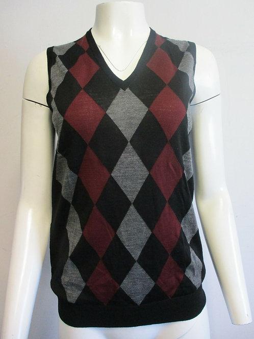 PRADA 100% virgin wool black grey maroon argyle V- neck sweater vest sz I38