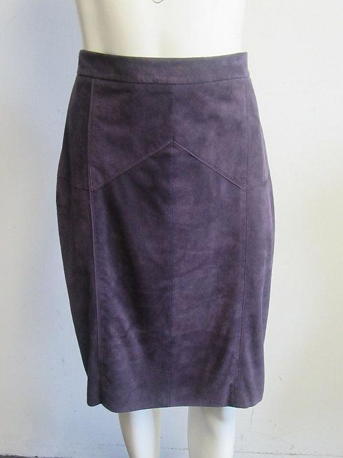 CAROLINA HERRERA purple suede straight skirt sz 10