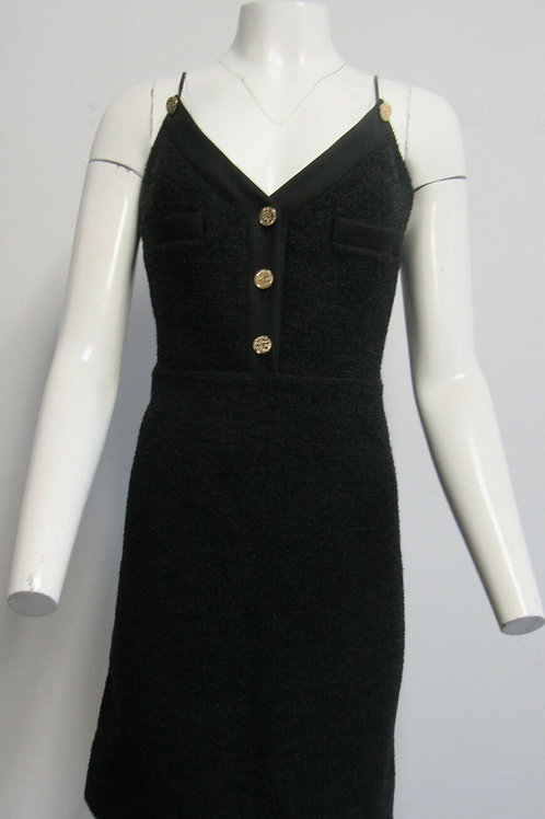 LOUIS VUITTON black tweed shift dress w/ gold buttons & faux leather straps SZ42