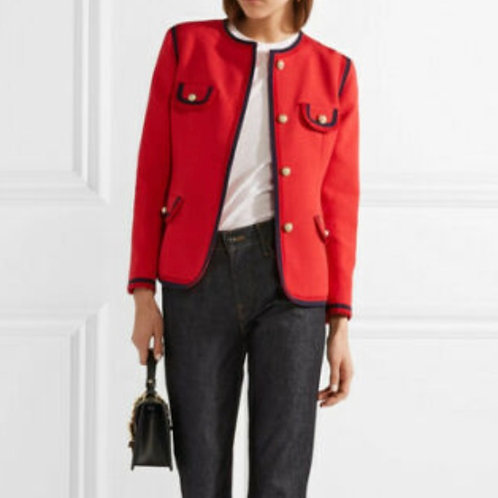 GUCCI $2980 Faux pearl-embellished wool and silk-blend jacket SZ 40