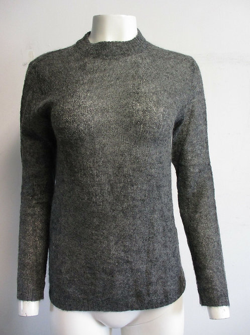 PRADA grey mohair-blend semi-sheer crewneck sweater sz 40/ 6
