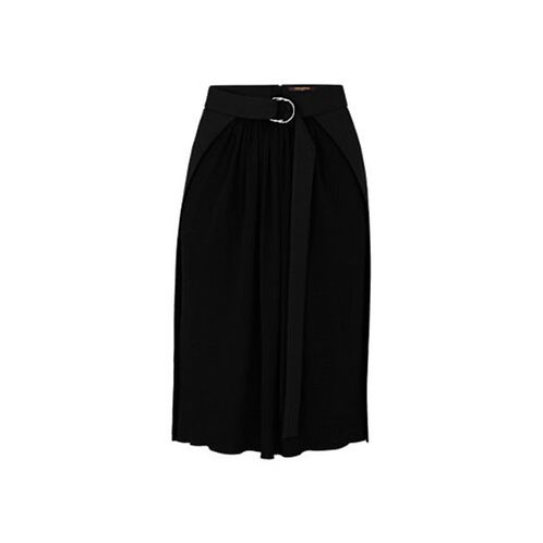 LOUIS VUITTON Black gabardine belted straight skirt with jersey panel sz 42/ 8