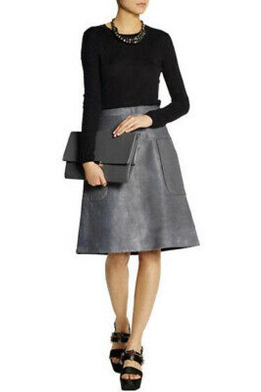 MARNI Women's Gray Calf Hair A-Line Skirt SZ 6/8