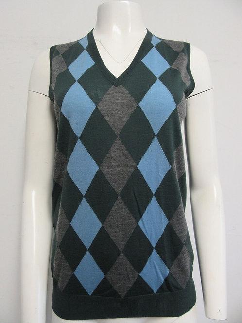 PRADA 100% virgin wool green grey blue argyle sleeveless V- neck knit top 38/ 4