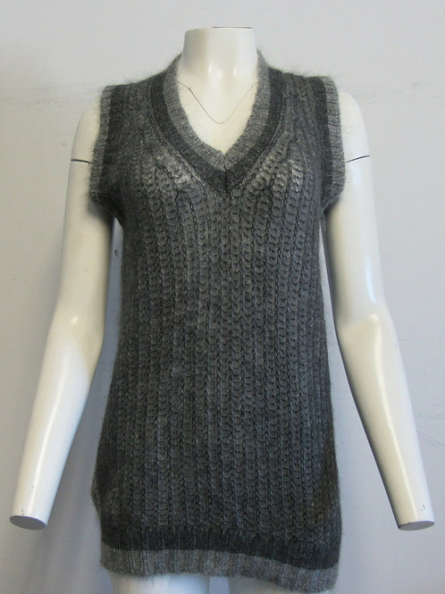PRADA Two Tone Grey Ribbed mohair-blend vest/tunic SZ 40