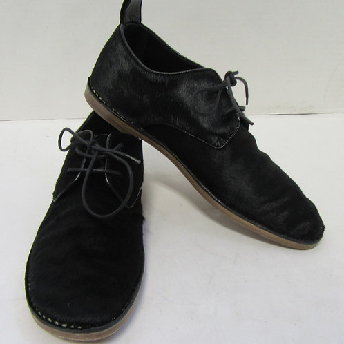 CELINE Paris Black Horse Hair Oxfords with White Border Stitching Size 38