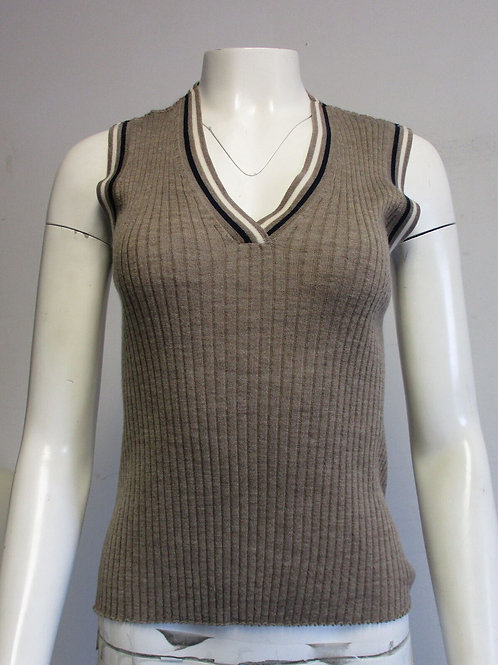 GABRIELA HEARST Taupe wool/cashmere ribbed sleeveless top SZ M