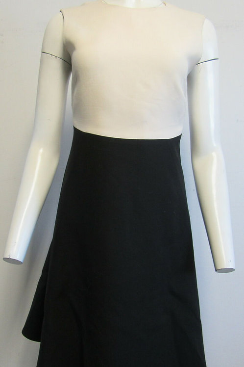 $3,490 Valentino Bicolor Colorblock Black Ivory Wool Dress SZ 8