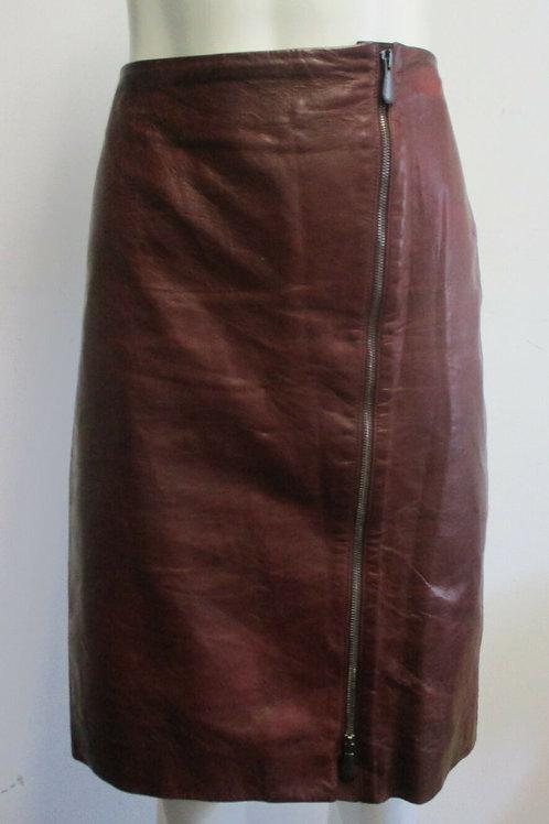 BOTTEGA VENETA burnt red leather zip-front pencil skirt sz 44/ 10