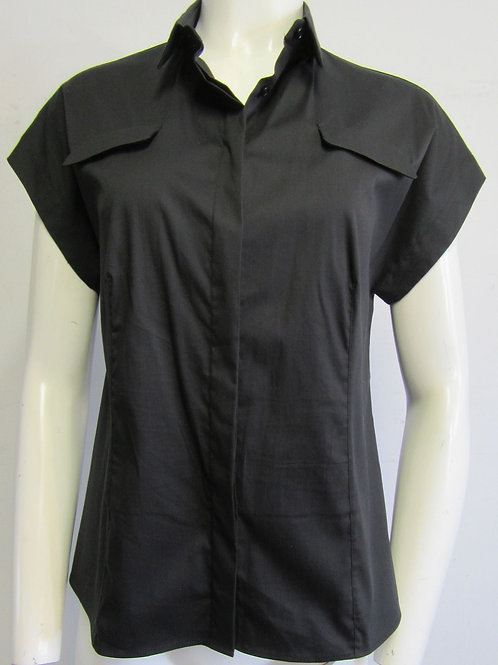 AKRIS PUNTO Black Cap-Sleeve Collared Button Down Size Large