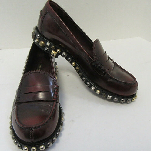 LOUIS VUITTON Burgundy Leather Loafers w/ Zig-Zag Edge and Studded Sole Size 38