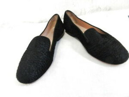 CHRISTIAN LOUBOUTIN BLACK TEXTURED PONY HAIR FLATS LOAFERS SZ 38.5