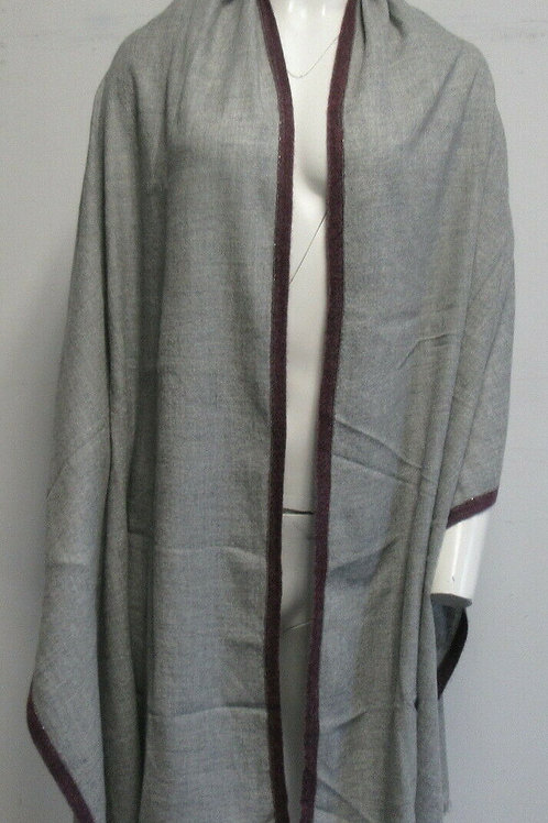 BRUNELLO CUCINELLI grey/purple cashmere blend wrap/scarf